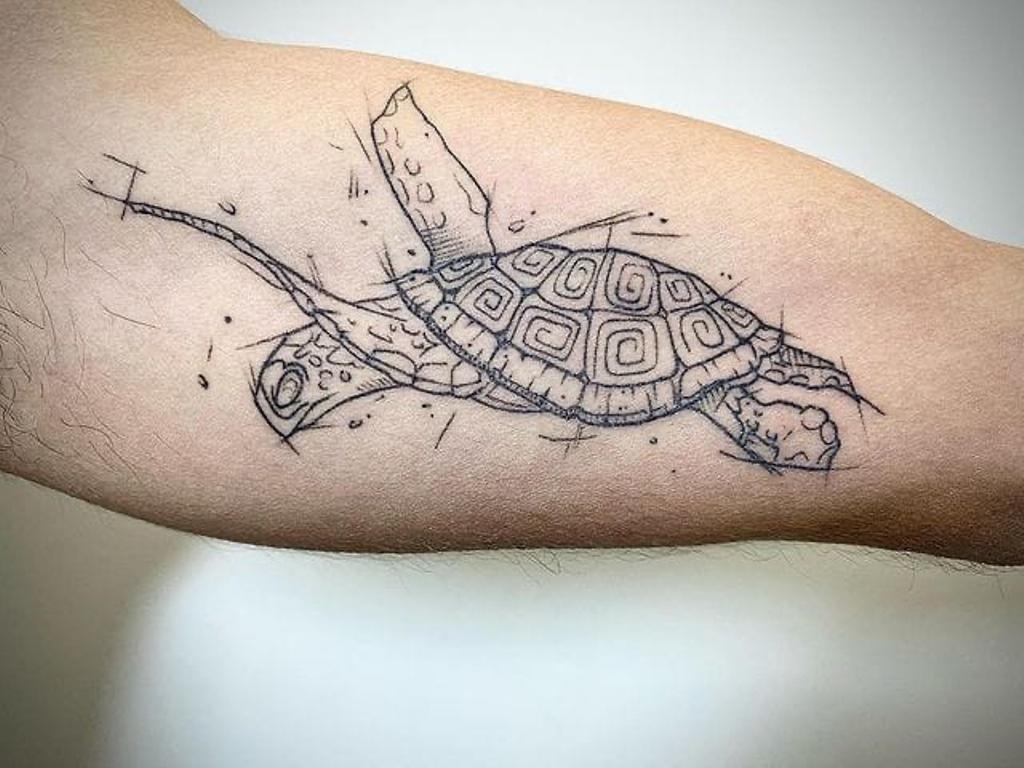 тату черепаха для мужчин