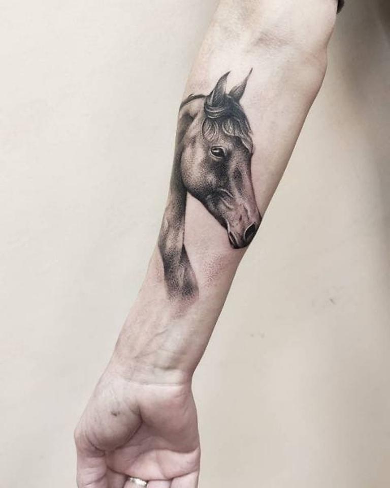тату лошади на руке