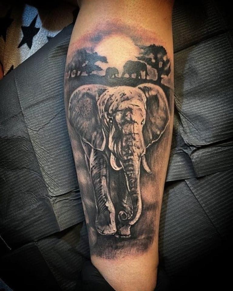слон тату эскиз